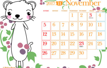 ポーラベア フェレットのイラストカレンダー 11月&12月